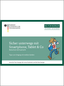 "Cover der Publikation ""Sicher unterwegs mit Smartphone, Tablet & Co"""